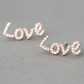 Swarovski Love Stud Earrings Rose Gold