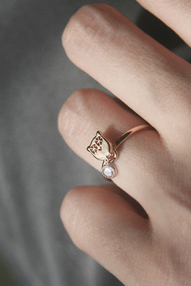 Lucky Charm Owl Ring Rose Gold