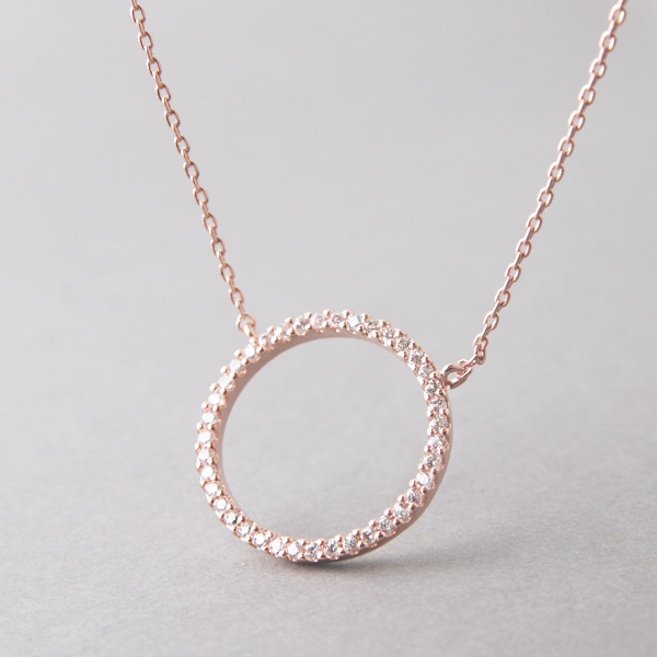Swarovski rose gold outline circle necklace sterling silver swarovski rose gold outline circle necklace sterling silver from kellinsilver aloadofball Image collections