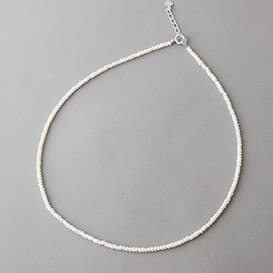2mm Full Strand Freshwater Button Pearl Necklace Sterling Silver