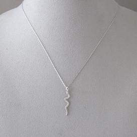 CZ Sterling Silver Snake Necklace White Gold