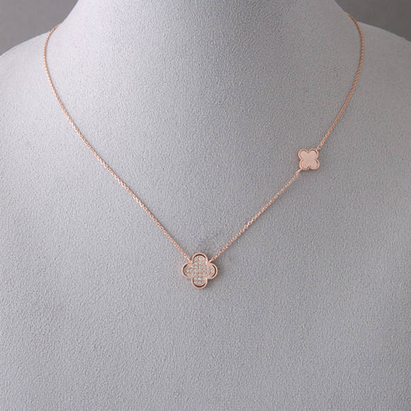 Pave Rose Gold Four Leaf Clover Necklace Sterling Silver