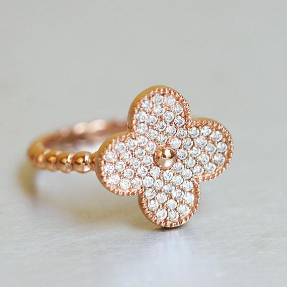 Vintage Size Pave Four Leaf Clover Ring Rose Gold In