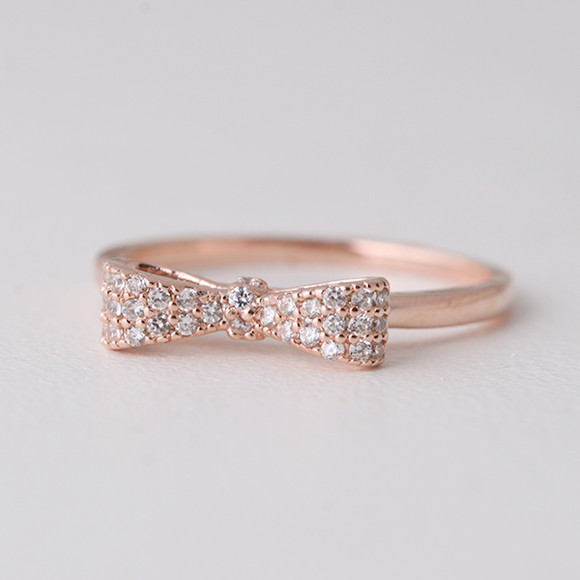 Pave Rose Gold Bow Ring Sterling Silver from kellinsilver.com