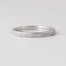 Pave Milgrain Edge White Gold Eternity Ring Sterling Silver on kellinsilver.com