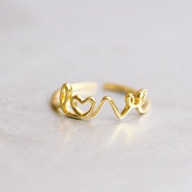 Gold Love Script Ring Wrap from kellinsilver.com