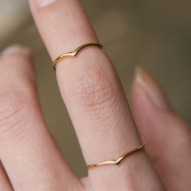 Gold Chevron Rings Set of 2