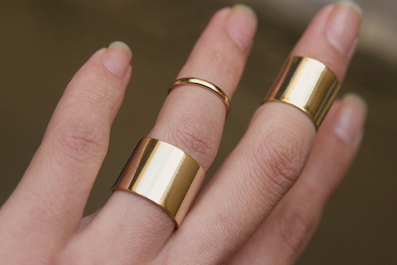 Gold Knuckle Wrap Rings Set of 3 kellinsilver