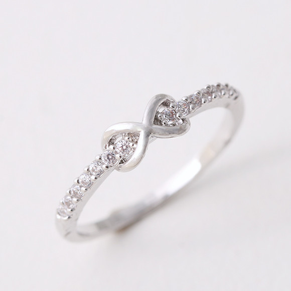 Cz Band Embraced Infinity Symbol Ring White Gold