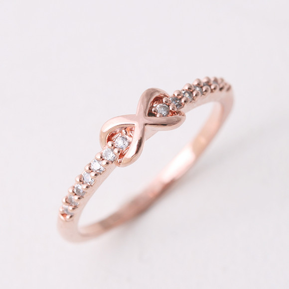 CZ Band Embraced Infinity Symbol Ring Rose Gold kellinsilver
