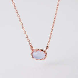 Rose Gold Delicate Lavender Cabochon Stone Necklace Sterling Silver