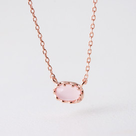Rose Gold Delicate Pink Cabochon Stone Necklace Sterling Silver