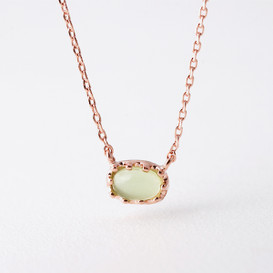 Rose Gold Delicate Lime Cabochon Stone Necklace Sterling Silver