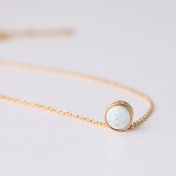 Tiny Gold White Opal Necklace Sterling Silver