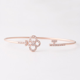 Swarovski Rose Gold Clover Key Cuff Bracelet from kellinsilver.com
