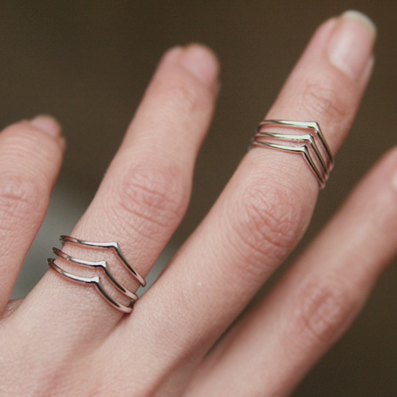 White Gold Triple Chevron Wrap Around Rings Set of 2 from Kellinsilver.com