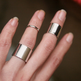White Gold Wide Knuckle Wrap Rings Set of 3 from Kellinsilver.com