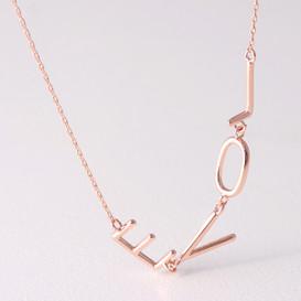 Rose Gold Sideways Love Necklace Sterling Silver from Kellinsilver.com