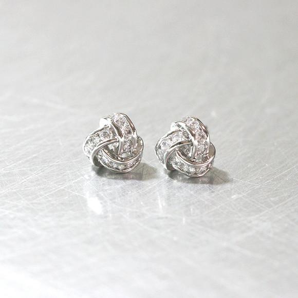 Swarovski White Gold Triangle Knot Earrings Studs from kellinsilver.com