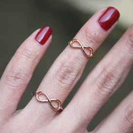 Rose Gold Infinity Midi Rings Set of 2 from kellinsilver.com