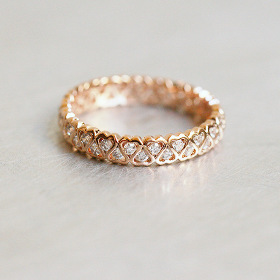 CZ Heart Eternity Band Ring Rose Gold kellinsilver