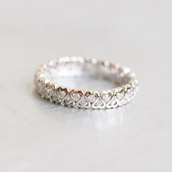 CZ Heart Eternity Band Ring White Gold kellinsilver