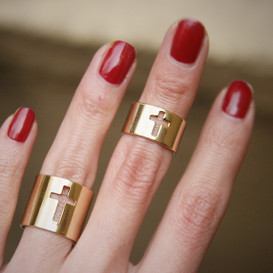 Gold Cross Knuckle Rings Set of 2 from kellinsilver.com