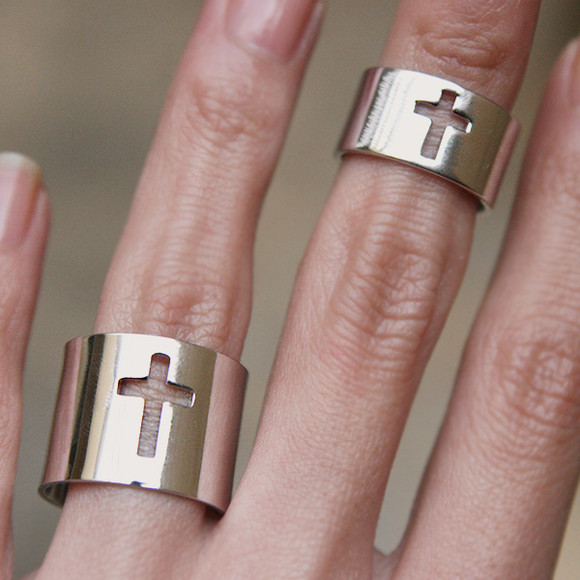 White Gold Cross Knuckle Rings Set of 2 kellinsilver