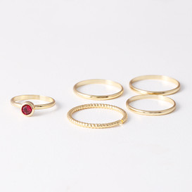 Ruby Red Stackable Rings Gold Set of 5 from kellinsilver.com
