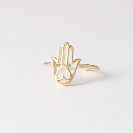Gold Heart Hamsa Ring Wrap from kellinsilver.com