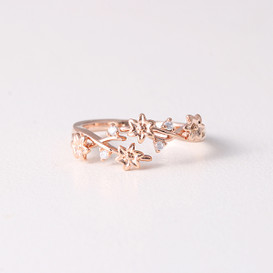 CZ Blossom Wrap Around Ring Rose Gold from kellinsilver.com