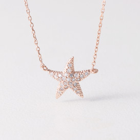 Swarovski Rose Gold Starfish Necklace Sterling Silver from kellinsilver.com