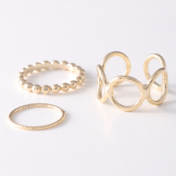 Yellow Gold Dot Stackable Rings Set of 3 from kellinsilver.com