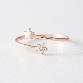 Cute Star Wrap Ring Rose Gold from kellinsilver.com