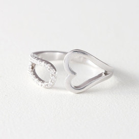 CZ Heart Wrap Ring White Gold from kellinsilver.com