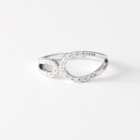 CZ Circle Embrace Midi Ring Wrap White Gold from kellinsilver.com