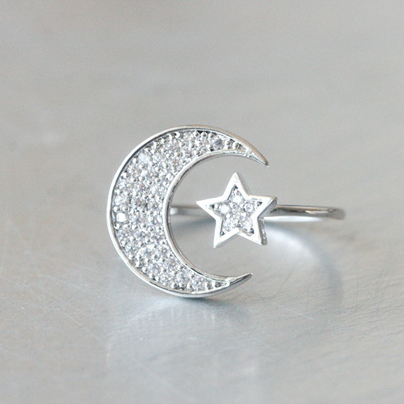 Swarovski Crescent Moon and Star Ring White Gold from kellinsilver.com