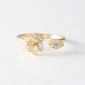 CZ Gold Flower Wrap Ring from kellinsilver.com