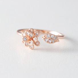 CZ Rose Gold Flower Wrap Ring from kellinsilver.com