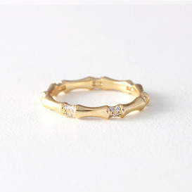 CZ Bone Band Ring Gold  from kellinsilver.com