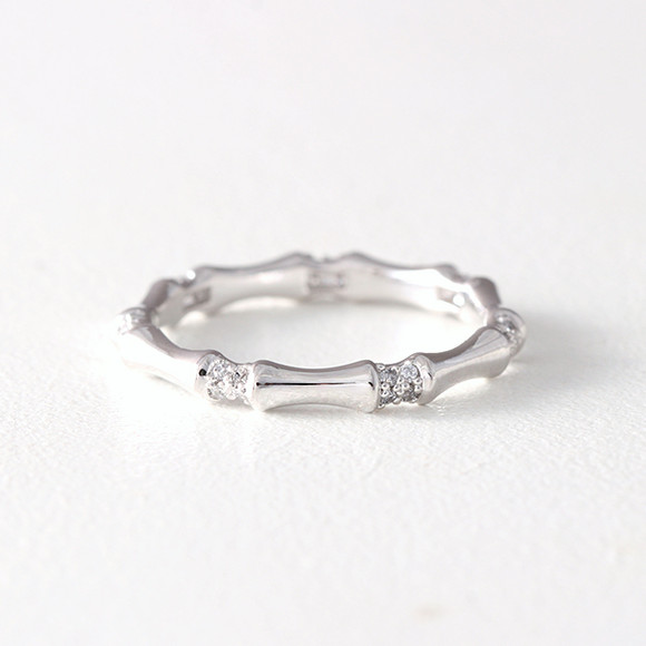 CZ Bone Band Ring White Gold from kellinsilver.com