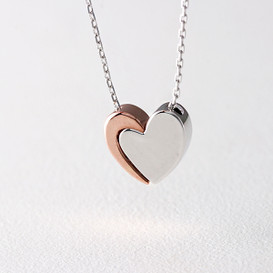 Rose Gold Combi Embrace Heart Necklace Sterling Silver from kellinsilver.com