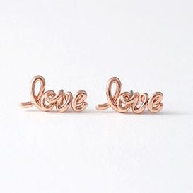 Rose Gold Love Script Earrings Studs from kellinsilver.com