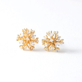 CZ Fireworks Stud Earrings Gold from kellinsilver.com