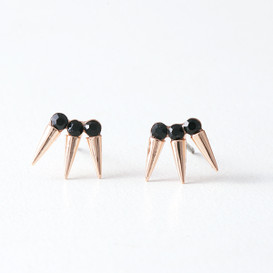 Black CZ Three Point Earrings Studs Rose Gold from kellinsilver.com