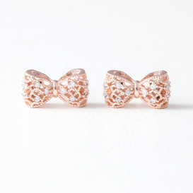 CZ 3D Filligree Bow Stud Earrings Rose Gold from kellinsilver.com