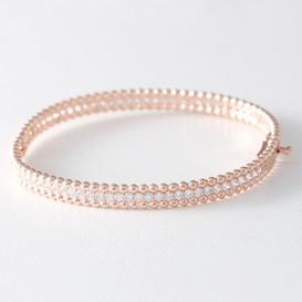 CZ Sterling Silver Perlee Bangle Bracelet Rose Gold from kellinsilver.com