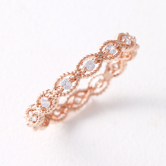 Milgrain Wave Eternity Band Ring Rose Gold from kellinsilver.com