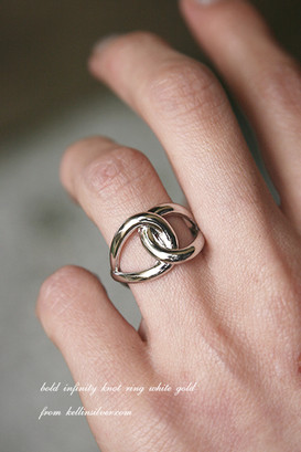 Bold Infinity Knot Ring White Gold from kellinsilver.com
