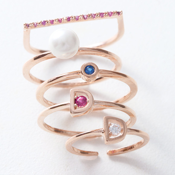 Pearl and Color Stone Stackable Rings Set Rose Gold of 5 from kellinsilver.com